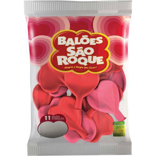Balao Coracao 11pol. Vermelho Quente Sao Roque Pct.c/50