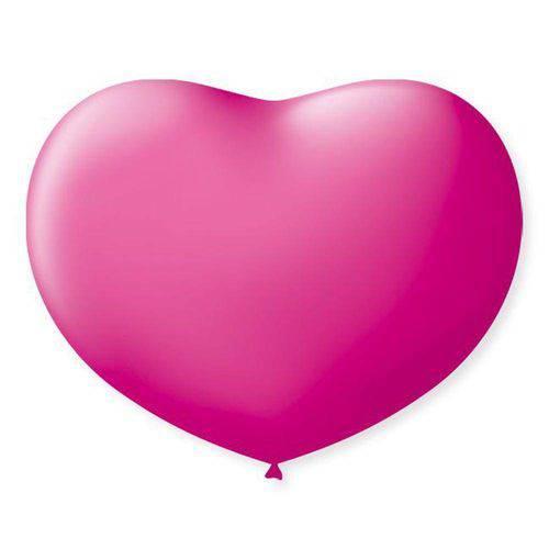 Balão Coração N°11 Liso Rosa Tutti Frutti com 20 Unidades