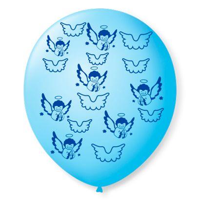 """Balão de Látex Azul Baby com Azul Cobalto de Anjinhos 9"""" com 25 Unidades São Roque"""