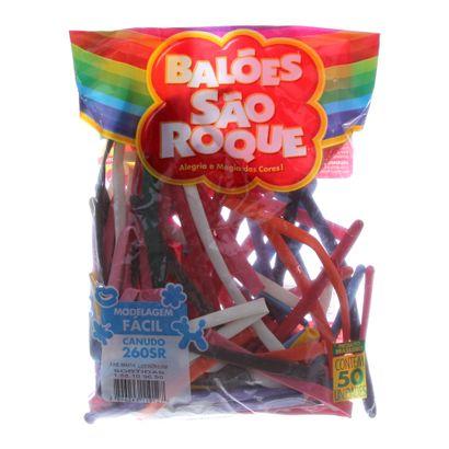 Balão de Látex Canudo Sortido com 50 Unidades São Roque