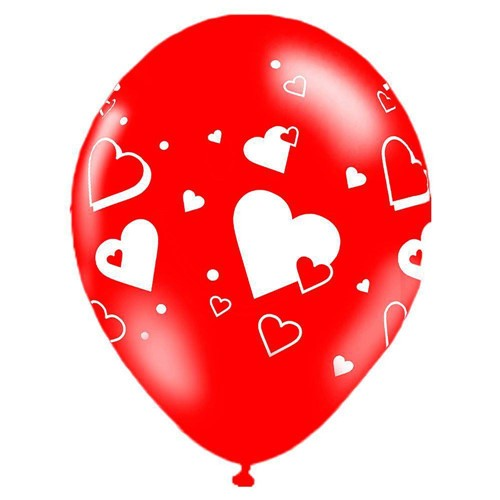 """Balão de Látex Corações 10"""" com 25 Unidades Balloontech"""