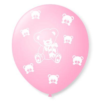 """Balão de Látex Rosa Baby com Branco de Ursinhos 9"""" com 25 Unidades São Roque"""