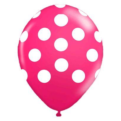 """Balão de Látex Rosa Maravilha com Bolinhas Brancas 10"""" com 25 Unidades Balloontech"""