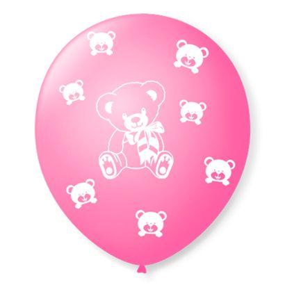 """Balão de Látex Rosa Tutti Frutti com Branco de Ursinhos 9"""" com 25 Unidades São Roque"""