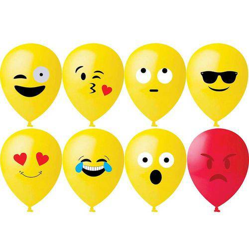 Balão Decorativo 11'' com 25 Unidades Emoticons Happy Day