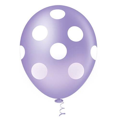 Balão Fantasia Poa Lilás e Branco Tamanho 10 C/25 - Pic Pic