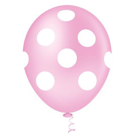 Balão Fantasia Poa Rosa Bebê e Branco Tamanho 10 C/25 - Pic Pic
