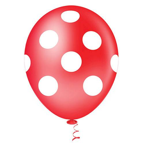 Balão Fantasia Poa Vermelho e Branco Tamanho 10 C/25 - Pic Pic