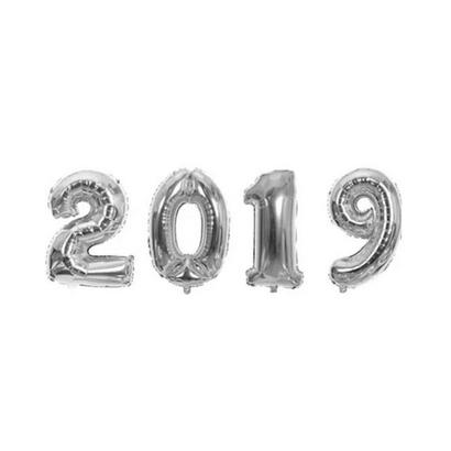 Balão Metalizado 2019 40cm Prata com Vareta Funny Fashion