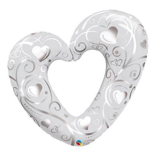 Balão Metalizado 42 Polegadas - Coração e Filigrana Branco Perolado - Qualatex