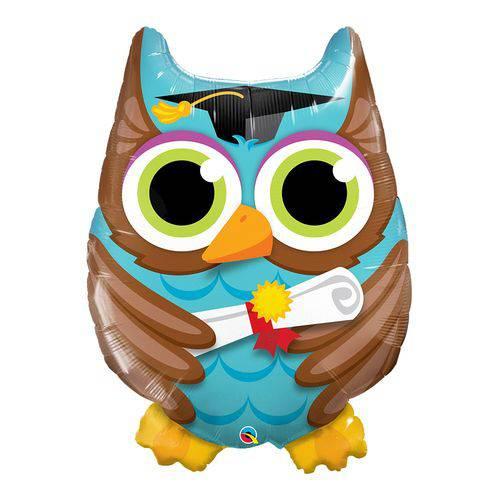Balão Metalizado 34 Polegadas - Graduate Owl - Qualatex