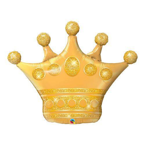 Balão Metalizado 41 Polegadas - Coroa Dourada - Qualatex