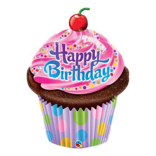 Balão Metalizado 35 Polegadas - Cupcake Maravilhoso de Aniversário - Qualatex
