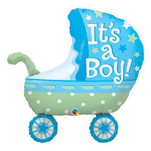Balão Metalizado 35 Polegadas - é um Menino, Carrinho de Bebê - Qualatex