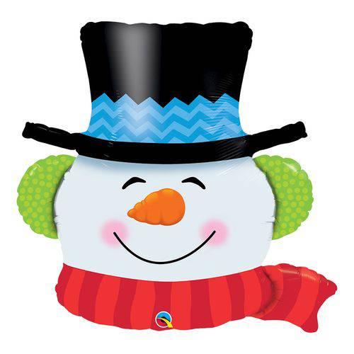Balão Metalizado 36 Polegadas - Smilin Snowman - Qualatex