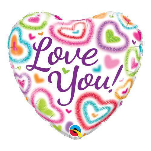 Balão Metalizado Coração 18 Polegadas - eu te Amo, Corações Distorcidos - Qualatex