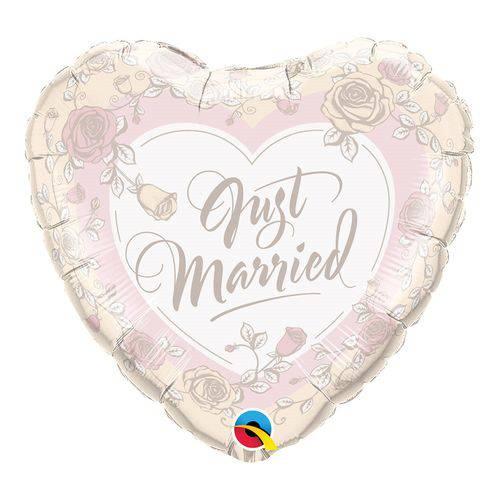 Balão Metalizado Coração 18 Polegadas - Recém-casados, Rosas - Qualatex
