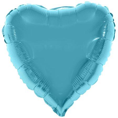 Balão Metalizado Coração Azul Claro 52x46cm Balão Metalizado Coração Azul Claro 80x75cm