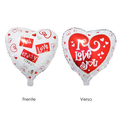 Balão Metalizado Coração I Love You 52x46cm Vermelho e Branco Funny Fashion