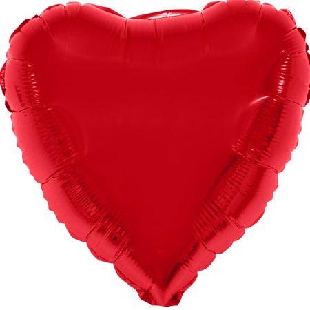 Balão Metalizado Coração Vermelho 80x75cm