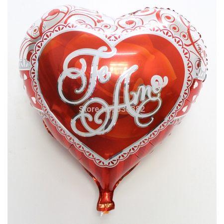 """Balão Metalizado Coração Vermelho """"Te Amo"""" 50x46cm"""