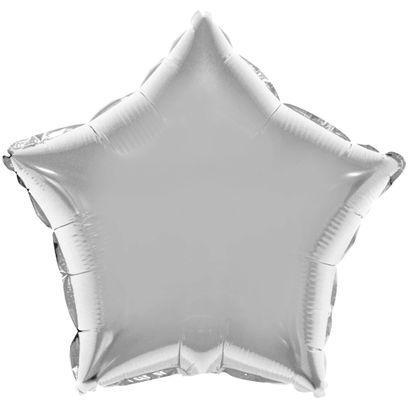 Balão Metalizado Estrela 28cm Prata com Vareta Funny Fashion