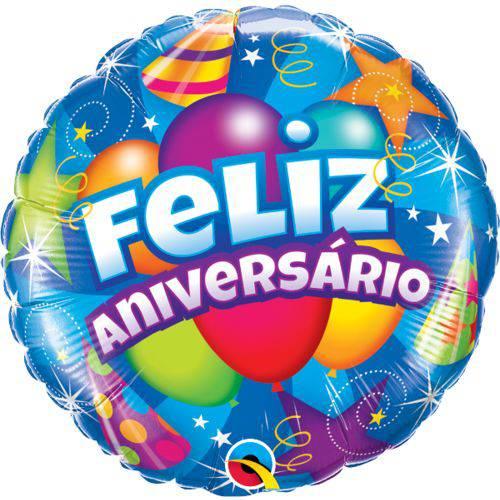 """Balão Metalizado Feliz Aniversário 18"""" / 46cm - Qualatex"""