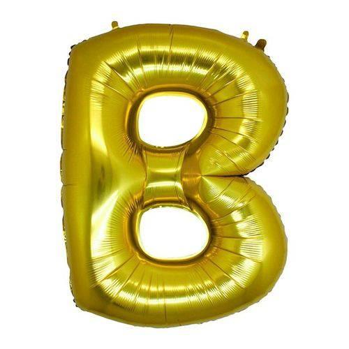 Balão Metalizado Letra B Ouro 40 Cm