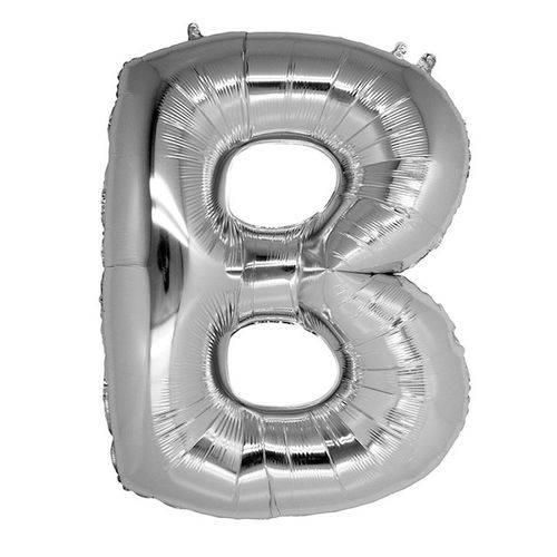 Balão Metalizado Letra B Prata 40 Cm