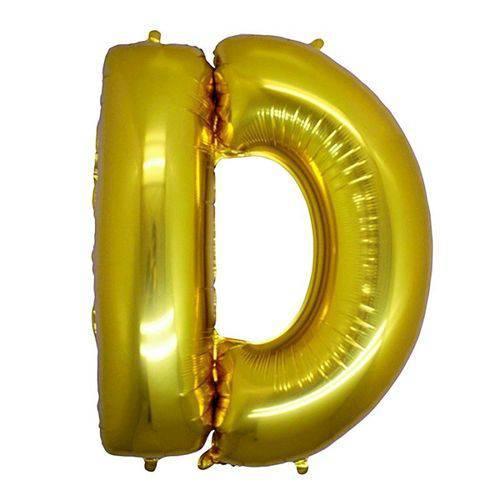 Balão Metalizado Letra D Ouro 40 Cm