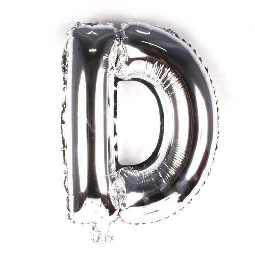 Balão Metalizado Letra D Prata