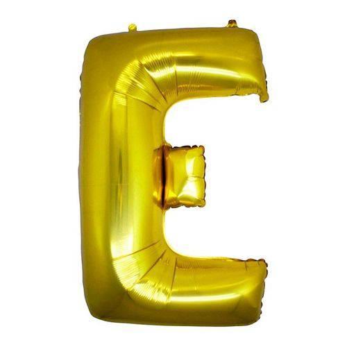 Balão Metalizado Letra e Ouro 40 Cm