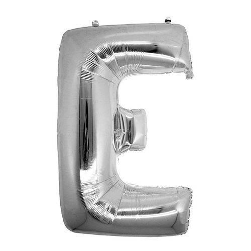 Balão Metalizado Letra e Prata 40 Cm