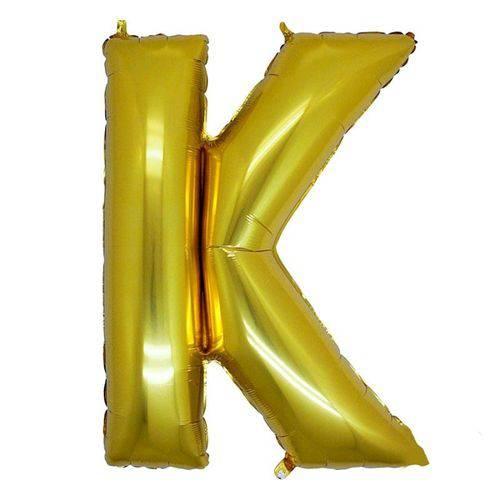 Balão Metalizado Letra K Ouro 40 Cm