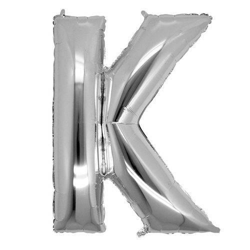 Balão Metalizado Letra K Prata 40 Cm
