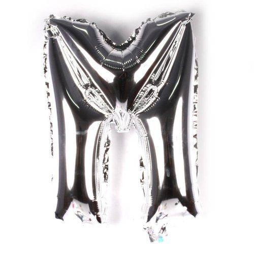 Balão Metalizado Letra M Prata