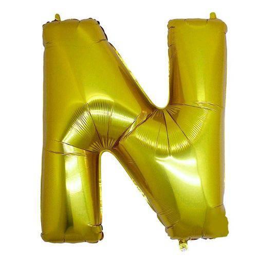 Balão Metalizado Letra N Ouro 40 Cm