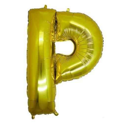 Balão Metalizado Letra P Ouro 40 Cm