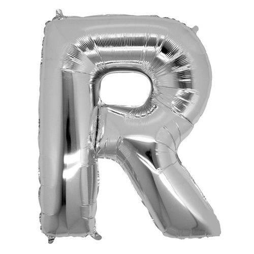 Balão Metalizado Letra R Prata 40 Cm