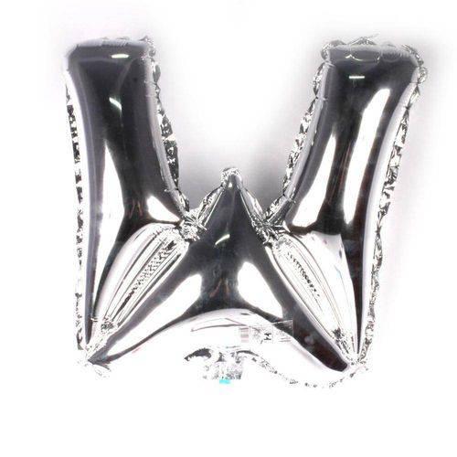 Balão Metalizado Letra W Prata