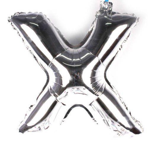 Balão Metalizado Letra X Prata