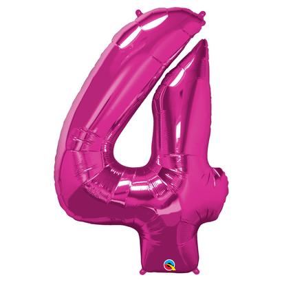 Balão Metalizado Número 4 Magenta 86cm Qualatex