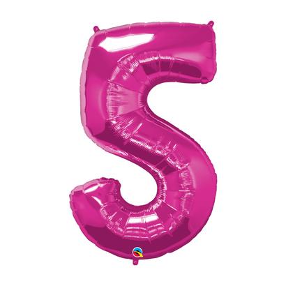 Balão Metalizado Número 5 Magenta 86cm Qualatex