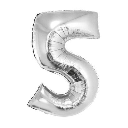 Balão Metalizado Número 5 Prata 40cm com Vareta Funny Fashion