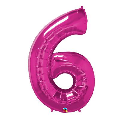 Balão Metalizado Número 6 Magenta 86cm Qualatex