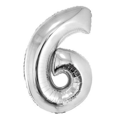 Balão Metalizado Número 6 Prata 40cm com Vareta Funny Fashion