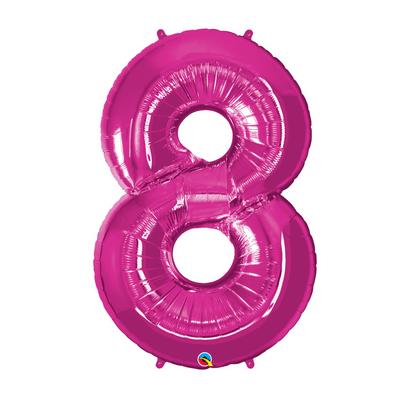 Balão Metalizado Número 8 Magenta 86cm Qualatex