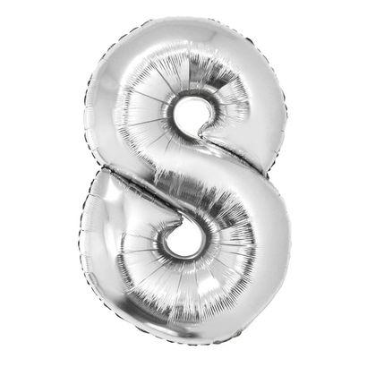 Balão Metalizado Número 8 Prata 40cm com Vareta Funny Fashion