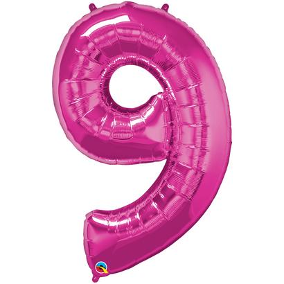 Balão Metalizado Número 9 Magenta 86cm Qualatex