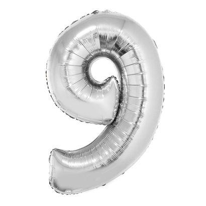 Balão Metalizado Número 9 Prata 40cm com Vareta Funny Fashion